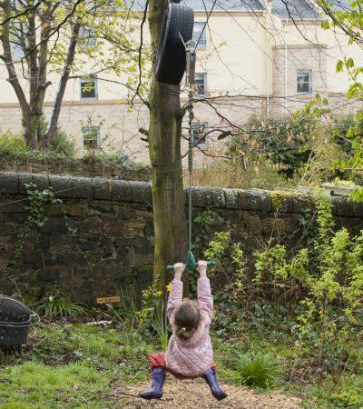child on zip wire